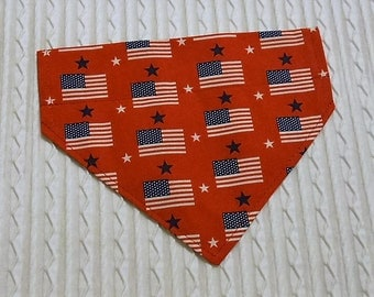 Patriotic Dog Bandana with USA Flags Sizes XS to XL in over the collar style