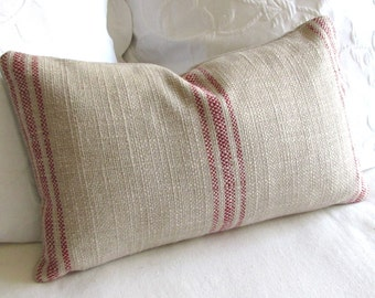 FRENCH COUNTRY rustic lumbar pillow in red stripes 12x20