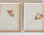 Pair of Adorable Vintage Watercolors Girl With Ducks White and Red Wood Frames
