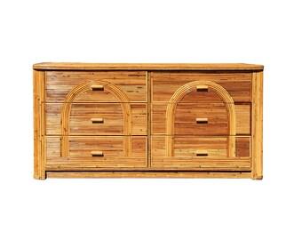 Vintage Palm Beach Split Reed 6 Drawer Dresser