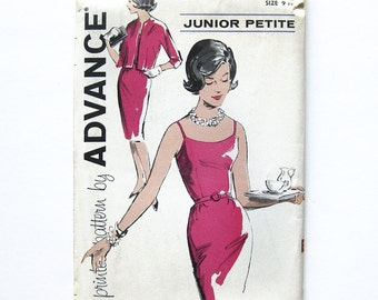 1960s Sheath Dress Bombshell Wiggle Dress with Belt and Jacket, Open Neckline  / Advance 9792 / Size 9 Junior Petite UNCUT F