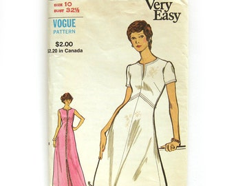 Vintage VOGUE Sewing Pattern - Vogue 8296 - Mod A-Line DRESS / Maxi Dress / Evening Length / Size 10