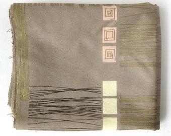 1950s Vintage Atomic Upholstery Fabric - Eames Era Mid Century Fabric Taupe Pink Metallic Gold Brown Hi-Fidelity Riverdale Fabrics
