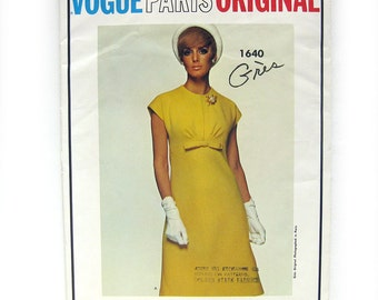 1960s Vintage Vogue Paris Original - One-piece A-line Mod Dress - Grès - Vogue 1640 RARE Pattern / Size 12 UNCUT Ff