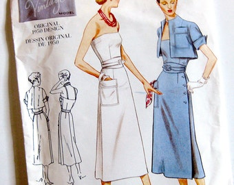 Vogue Retro Design Sewing Pattern 2414 Misses 1950s Sundress with Bolero / Size 12-14-16 UNCUT FF