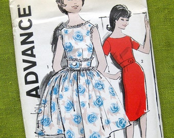 Vintage Sewing Pattern 1960s Party Dress Full Skirt DRESS Slim Fit Dress / Advance 9839 / Uncut FF