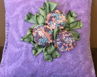 Wool felt pincushion...Stump Work Hydrangea Flowers...Silk Ribbon Leaves...French Knot Flowers...Sculptured Wool Felt