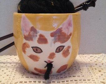 Calico Cat Lovers Yarn Bowl