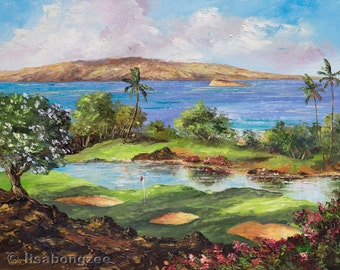 WAILEA GOLF MAUI Original Palette Knife Oil Painting 11x14 Art Hawaii Ocean Molokini Palm Tree Hawaiian Plumeria Tropical Course Tee Time