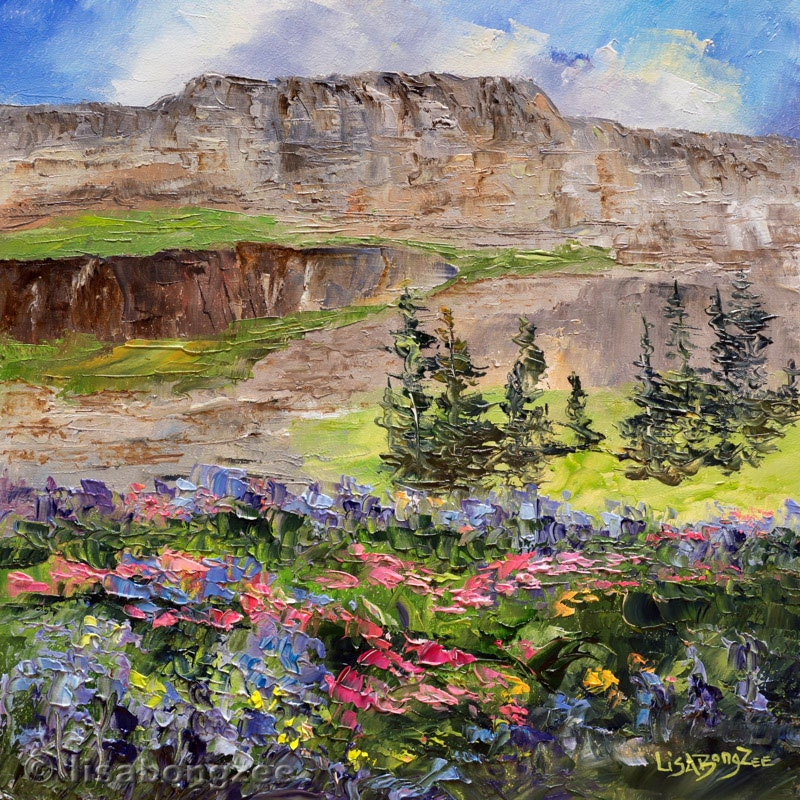 Grand Tetons Wildflowers Framed Original Oil Painting Art