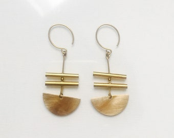 Golden Half Circle and Round Bars Earrings