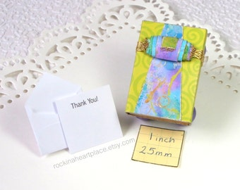 Matchbox Art - decorated keepsake box in blues, greens and purples, with your choice of gift card sentiment