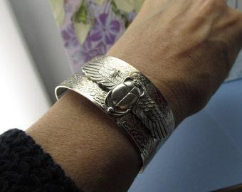 Scarab Cuff bracelet flying egyptian scarab bracelet silver Egyptian revival jewelry Scarabs jewelry