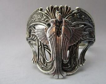 Egyptian Phoenix or Falcon Silver cuff Bracelet Vintage Silver Cuff Egyptian Revival Double Bird double eagle