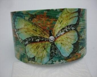 Turquoise Butterfly Bracelet Butterfly Cuff Decoupage Cuff Bracelet
