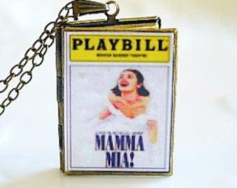 Mama Mia!, Broadway Musical, ABBA, Swedish Group, Jukebox Musical, Dancing Queen, Greek Isle, Best Musical Score, Playbill Locket Necklace