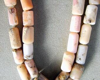 PERUVIAN, OPAL, BEADS  Large, Barrel, Tube, Strand, Pink, Beige, Cream, Old  Stock