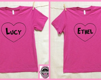 Lucy and Ethel PINK T-shirts. Set of 2. Unisex PINK Heather tri blend super soft. I love Lucy. best friend shirts. feminist. Comedy.Comedian