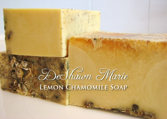 SALE SOAP- Lemon Soap with Chamomile - Vegan Soap - Handmade Soap- Soap Gift, Mother's Day Gift, Christmas Gift, Birthday Gift, Wedding Favo