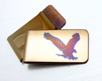 EAGLE Money Clip  -  American Eagle Money Clip  -  Gifts for Men  - Eagle Silhouette - Gold Money Clip - BALD EAGLE