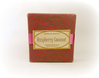 Raspberry Coconut Soap, Bar Soap, Cold Process Soap, Phthalate Free Soap, Palm Oil Free Soap, Handmade Soap, Gift for Her
