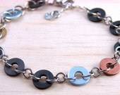 Chain Bracelet Mixed Metal Hardware Jewelry Industrial Black, Copper, and Brass Washers