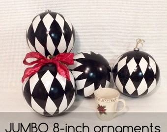 Christmas Tree Ornament // Jumbo Harlequin Ornament // Whimsical Painted Ornament Harlequin// Black and White Ornament