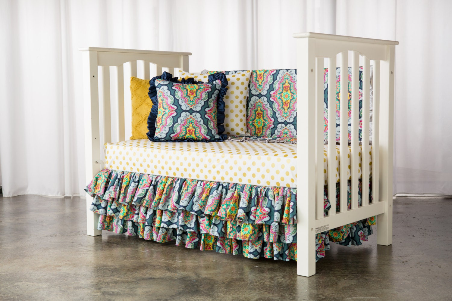 girl bohemian crib toddler bedding set includes 3 by elonkanichole. Black Bedroom Furniture Sets. Home Design Ideas
