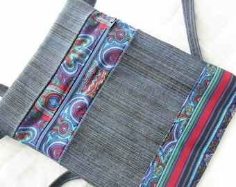 Crossbody purse, small denim travel bag, zippered bag, women accessorie