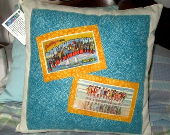 Provincetown vintage style throw pillow