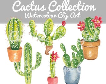 Cactus Watercolor Clip Art - Hand Drawn Clipart, Digital Download, Cactus Illustration, Digital Craft Supply
