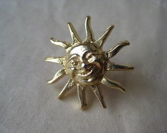 Sun Face Lapel Gold Pin Tie Tack Brooch Vintage