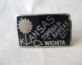 Kansas Lapel Pin Enamel Black Silver Tie Tack Vintage Brooch