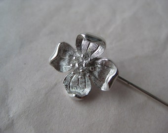 Dogwood Flower Stick Pin Silver Vintage Trifari Crowned