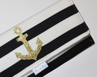 NAUTICAL WALLET /// Women's Wallet, Striped Wallet, Anchor Wallet, Black and White, Striped, Gold, Gold anchor, Nautical