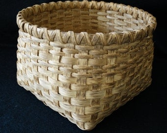 Hand Woven Basket in Traditional Walnut stain.  Storage basket. Magazine basket. Hand made baskets in traditional shapes and sizes.