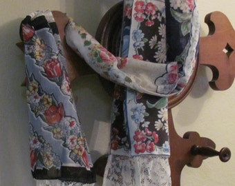 Hanky Scarf with Vintage Hankies and Lace, Use as Table Runner also
