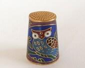 Vintage Cloisonne Owl Thimble