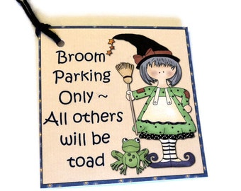 9 Gift Tags, Halloween Tags, Adorable Country Witch & Frog, Broom Parking Only,  Party Favor Tags, Merchandise Tags