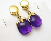 Vintage Purple Lucite Dangle Earrings Sixties Trifari Jewlery E6873