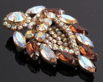 Vintage Czech Rhinestone Brooch Layered Fall Jewelry P5317