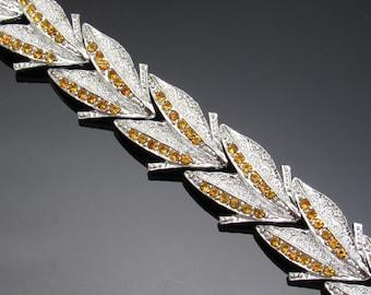 Vintage Rhinestone Bracelet Dodds Topaz Costume Jewelry B7441