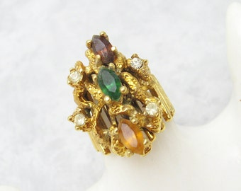 Wide Rhinestone Ring Vintage Abstract Jewelry Vargas R7055