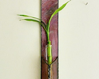 Stained Glass, Bamboo Plant, Wall Hanging, Mauve on Mauve, Cut Flower Vase