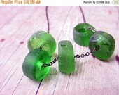 Recycled Glass Bottle Green Beads Beach Glass Necklace Gunmetal Chain Gift For Her Under 50
