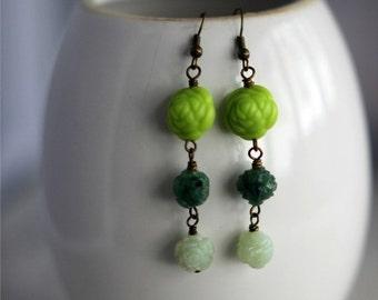 50% Off Green Floral Earrings, Mint Green Dangles, Forest, Jade, Kelly Green, Bohemian Flower Earrings