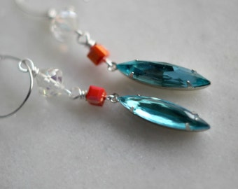 Aqua Blue Earrings, Coral Peach, Silver Dangles, Aqua Crystals, Swarovski Crystals, Vintage Crystals, Iridescent