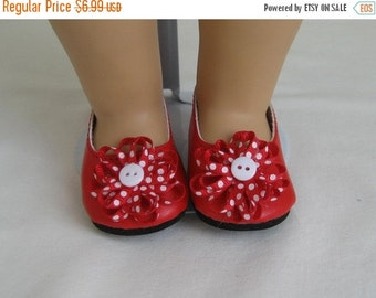 Shoes Made For BITTY BABY DOLLS and Bitty Twins Dolls, Red Flower Trimmed Shoes Fit Bitty Baby and Bitty Twins Dolls