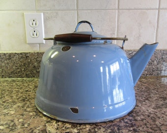 Beautiful vintage blue enamelware teapot or kettle with lid- large, swing metal and wood handle, robin's egg blue