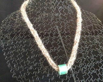 Knitted Statement Necklace with Turquoise Bead